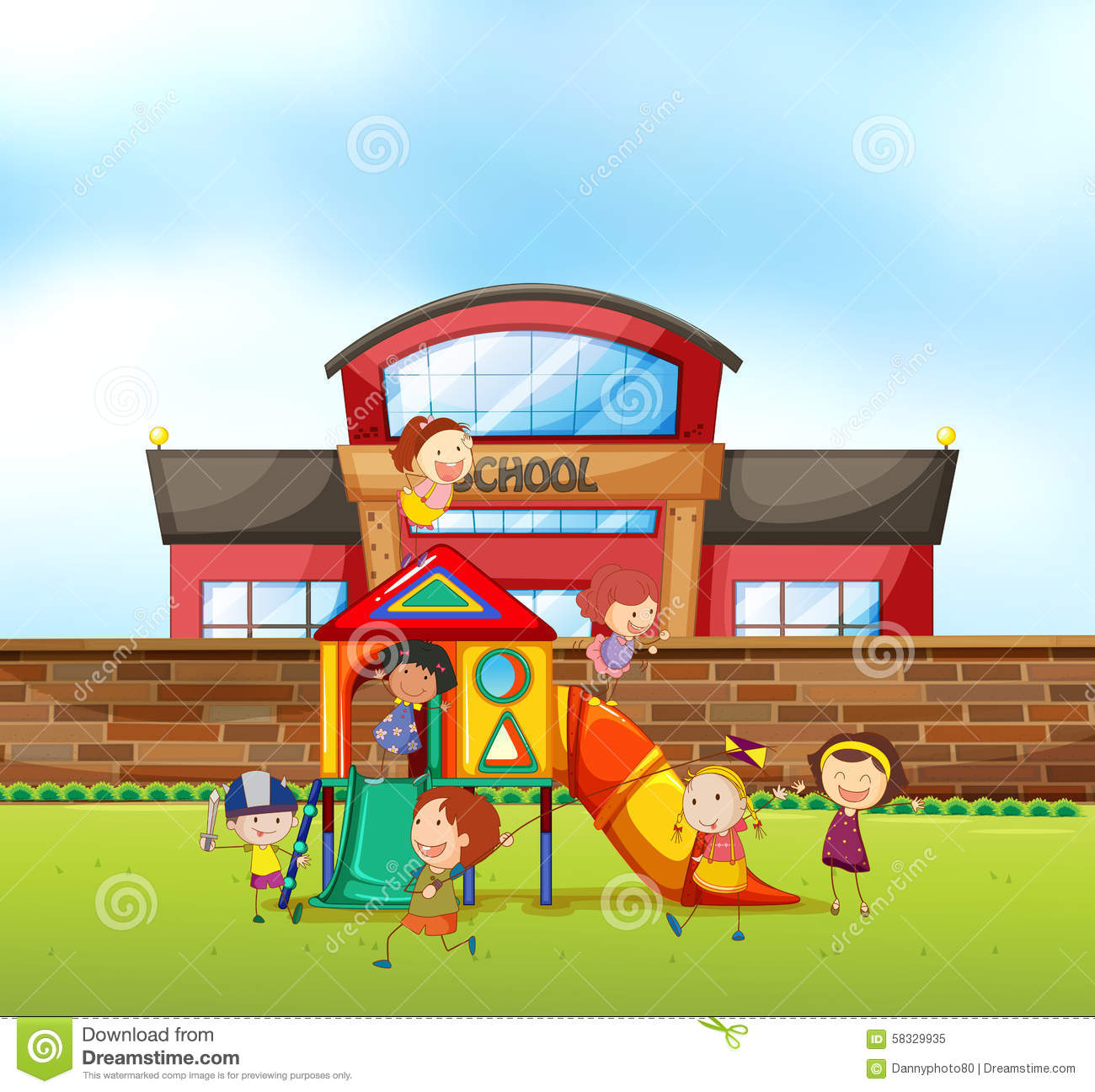Children Playing At School Playground Stock Vector - Image ...