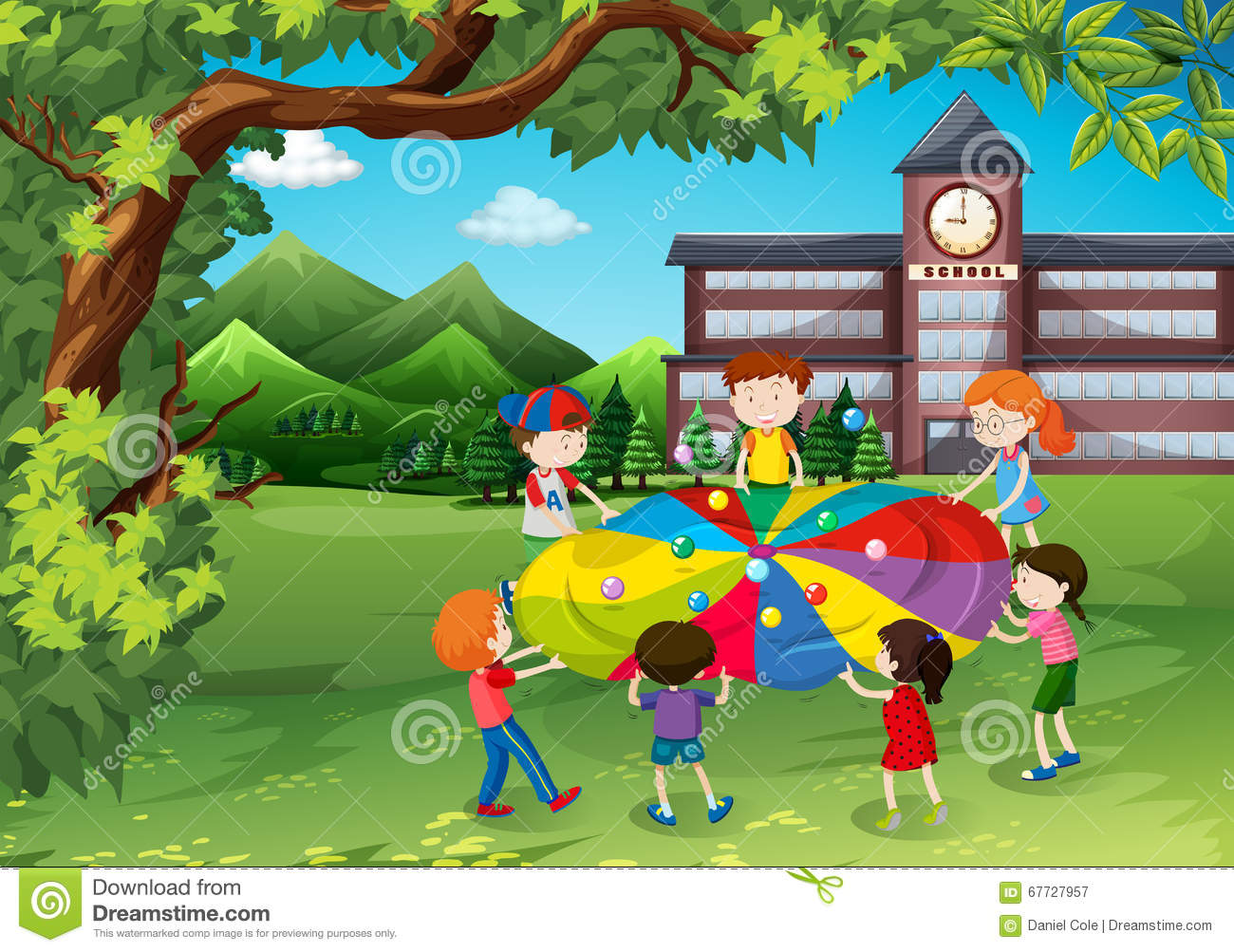 Playing garden drawing for kids - Children Playing In The School Yard Stock Vector
