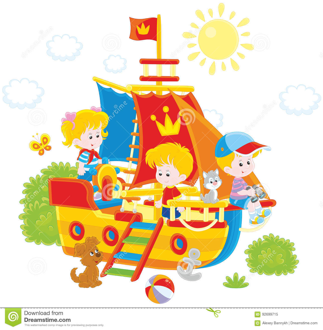 Children playing on a ship