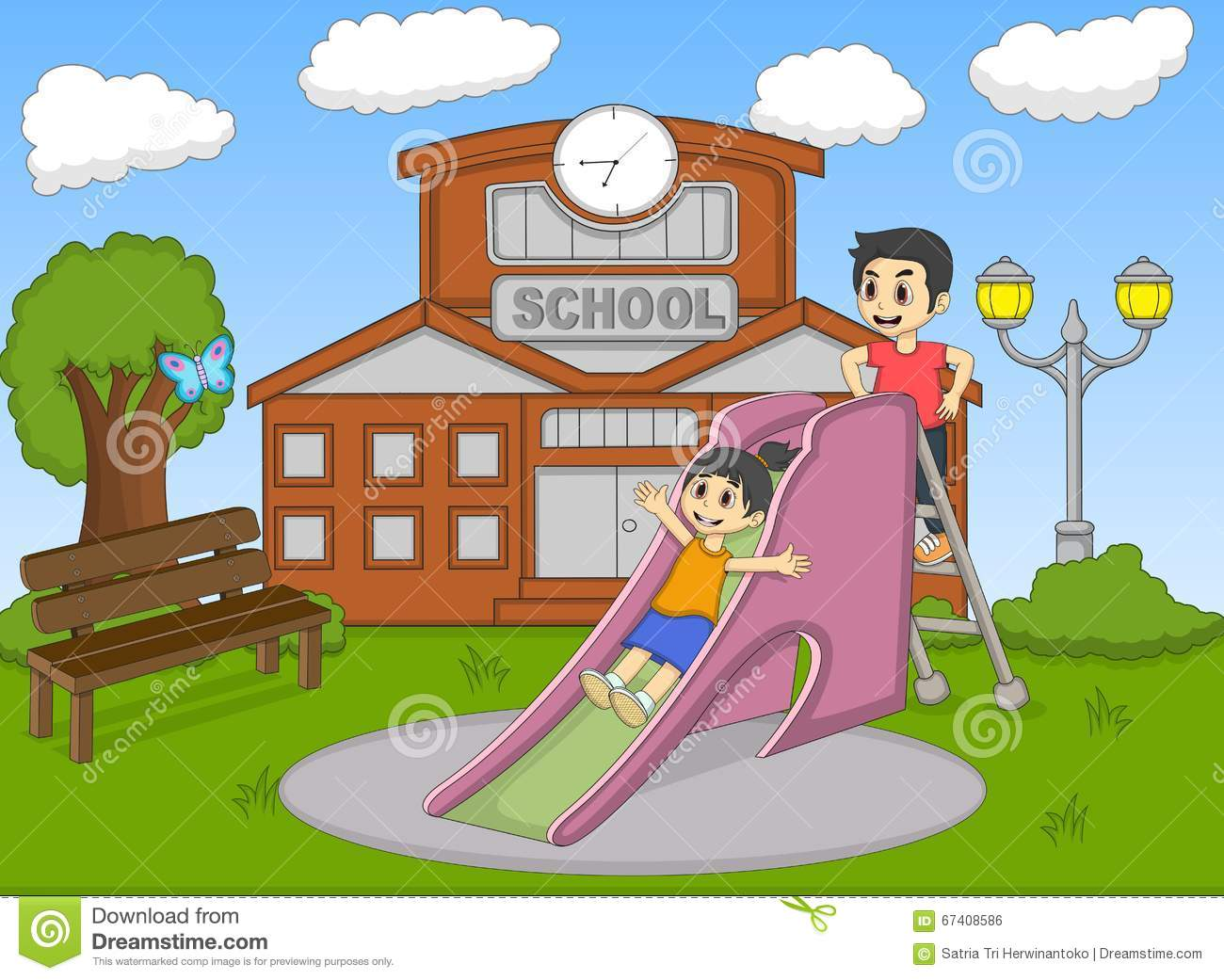 Children Playing Slide On The School Cartoon Stock Vector ...
