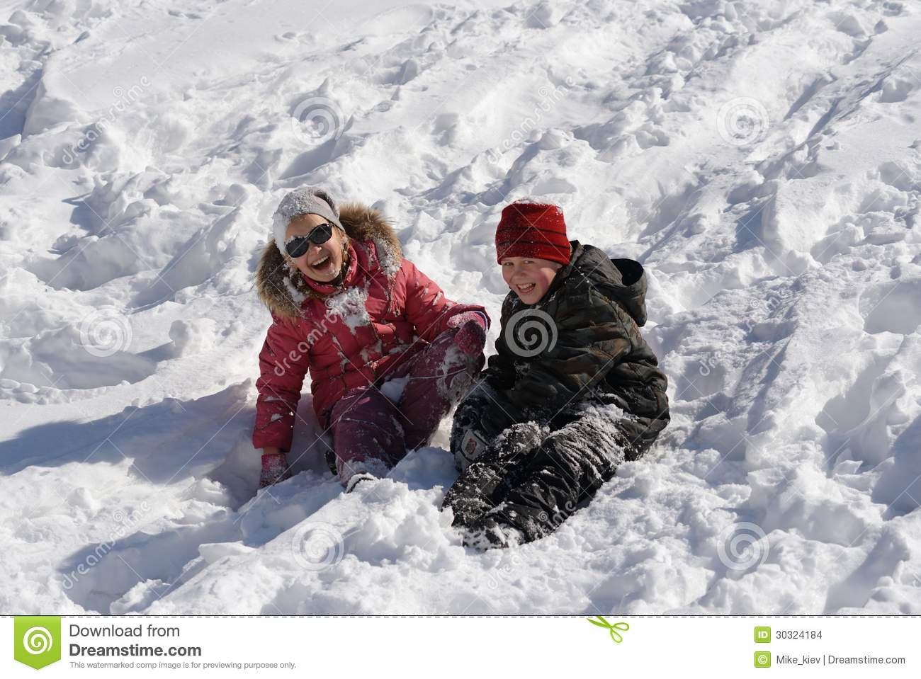 Children playing in snow stock images image 30324184 for Vacation in the snow