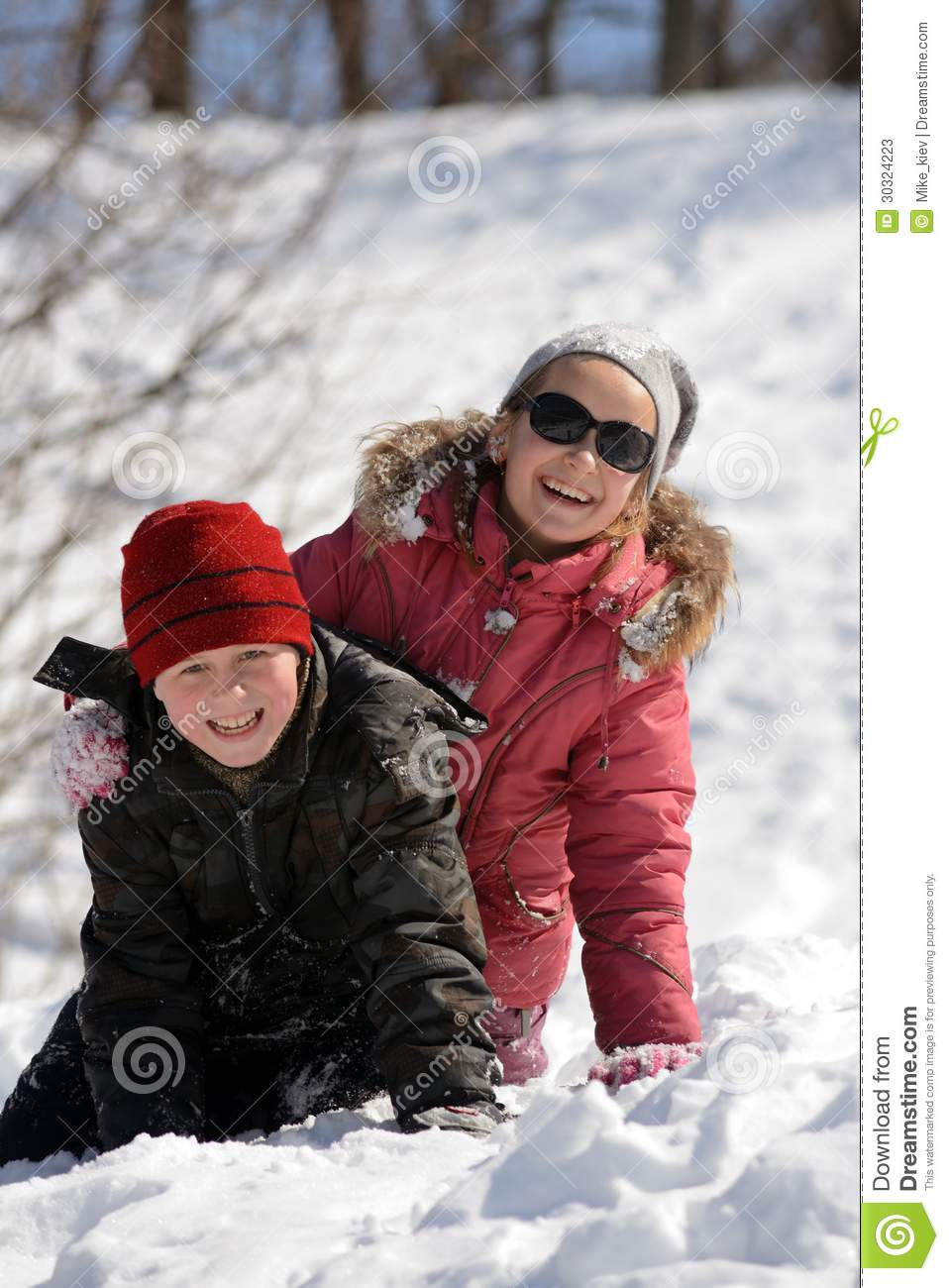 Children playing in snow stock photos image 30324223 for Vacation in the snow