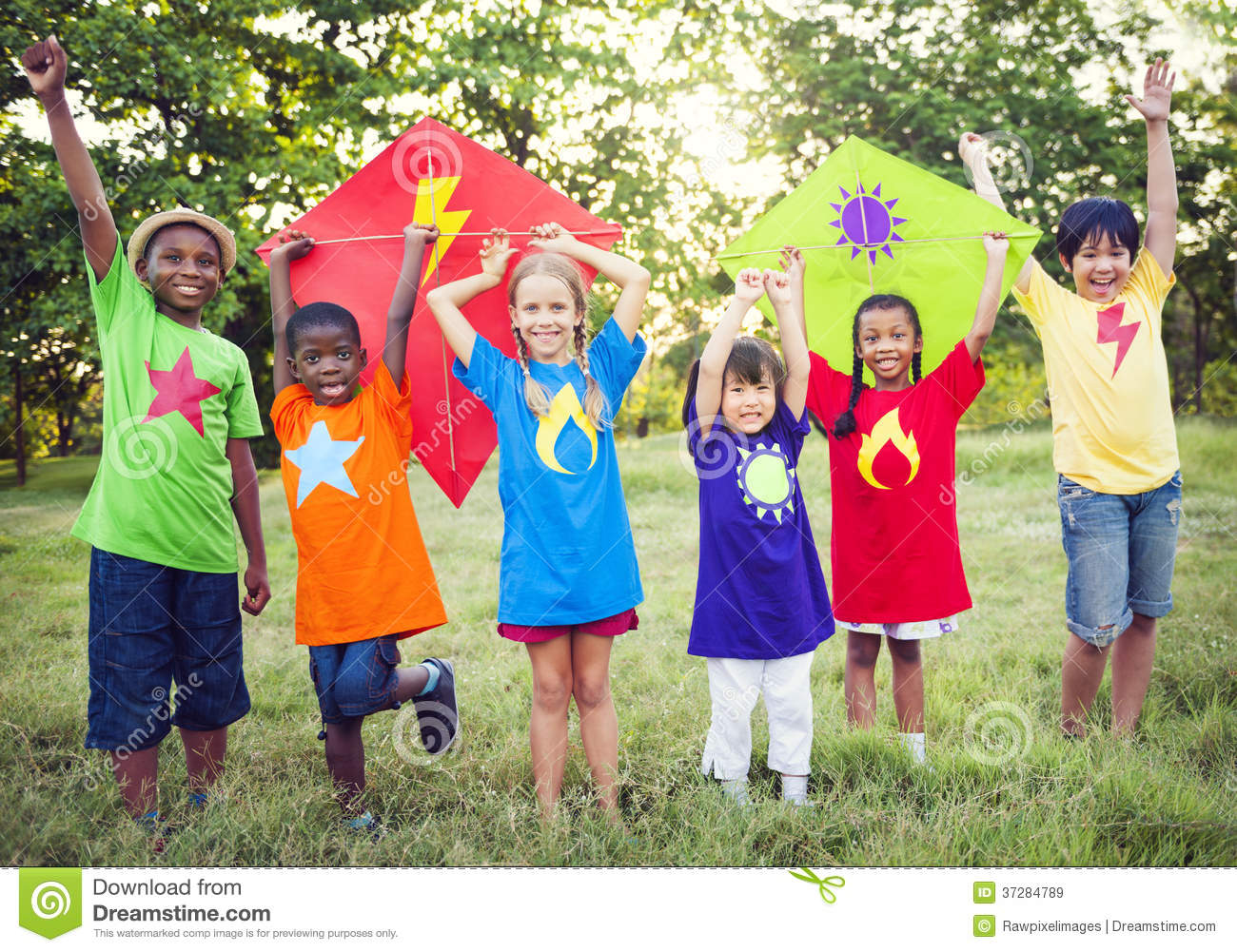 Children playing superheroes with kites.