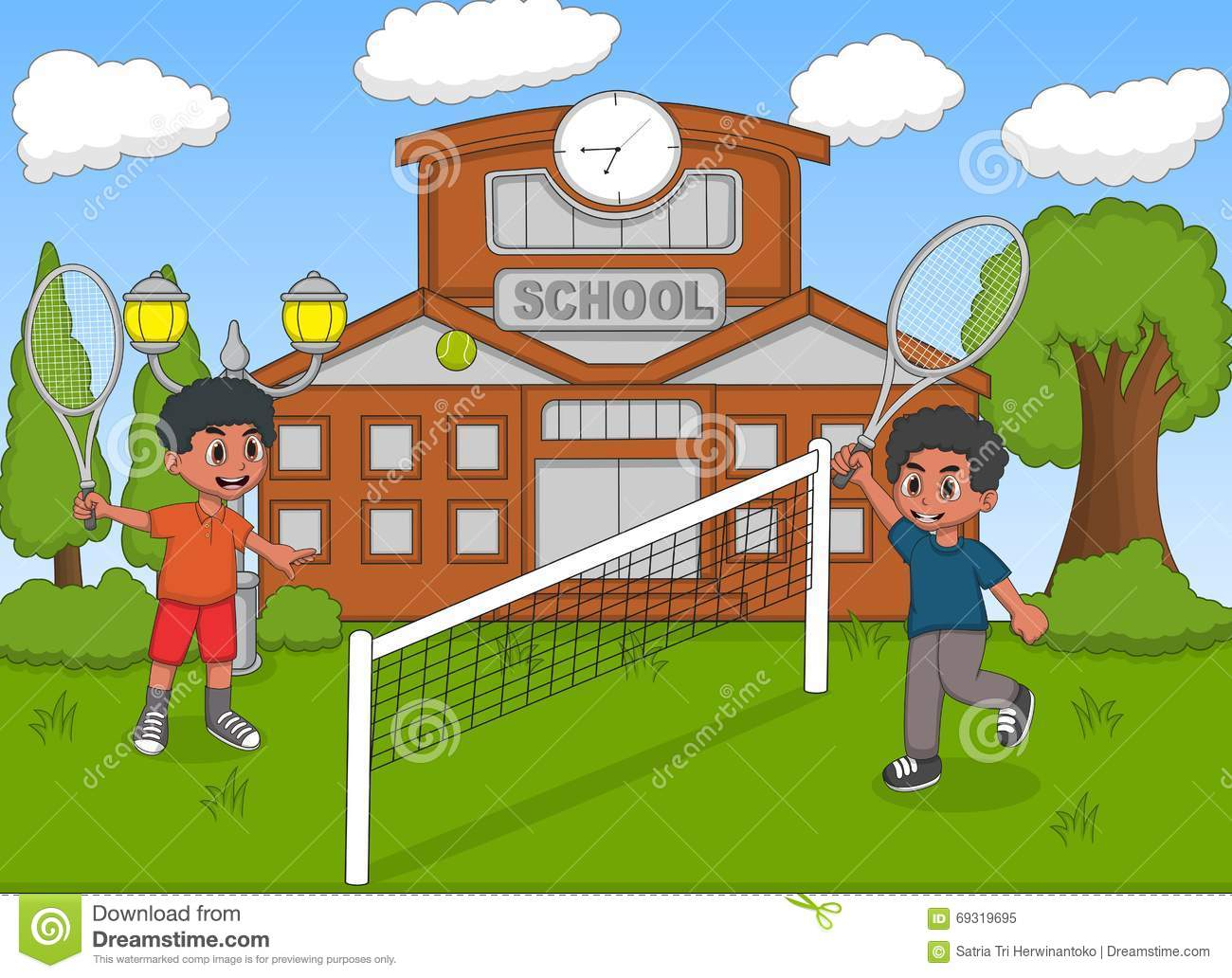 Children playing tennis in front of school cartoon stock vector illustration of house park - Houses for families withchild ...