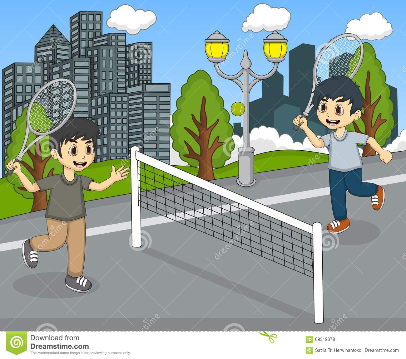 Children Playing Tennis In The Park Cartoon Stock Vector ...