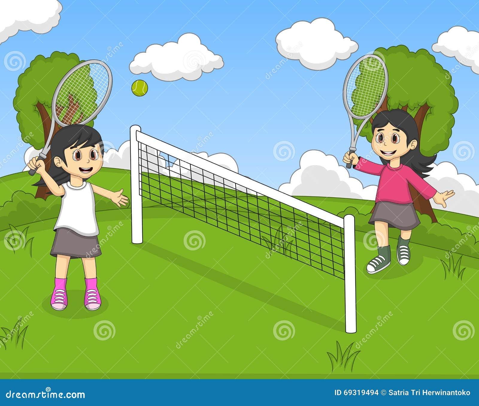 Children Playing Tennis In The Park Cartoon Stock Vector