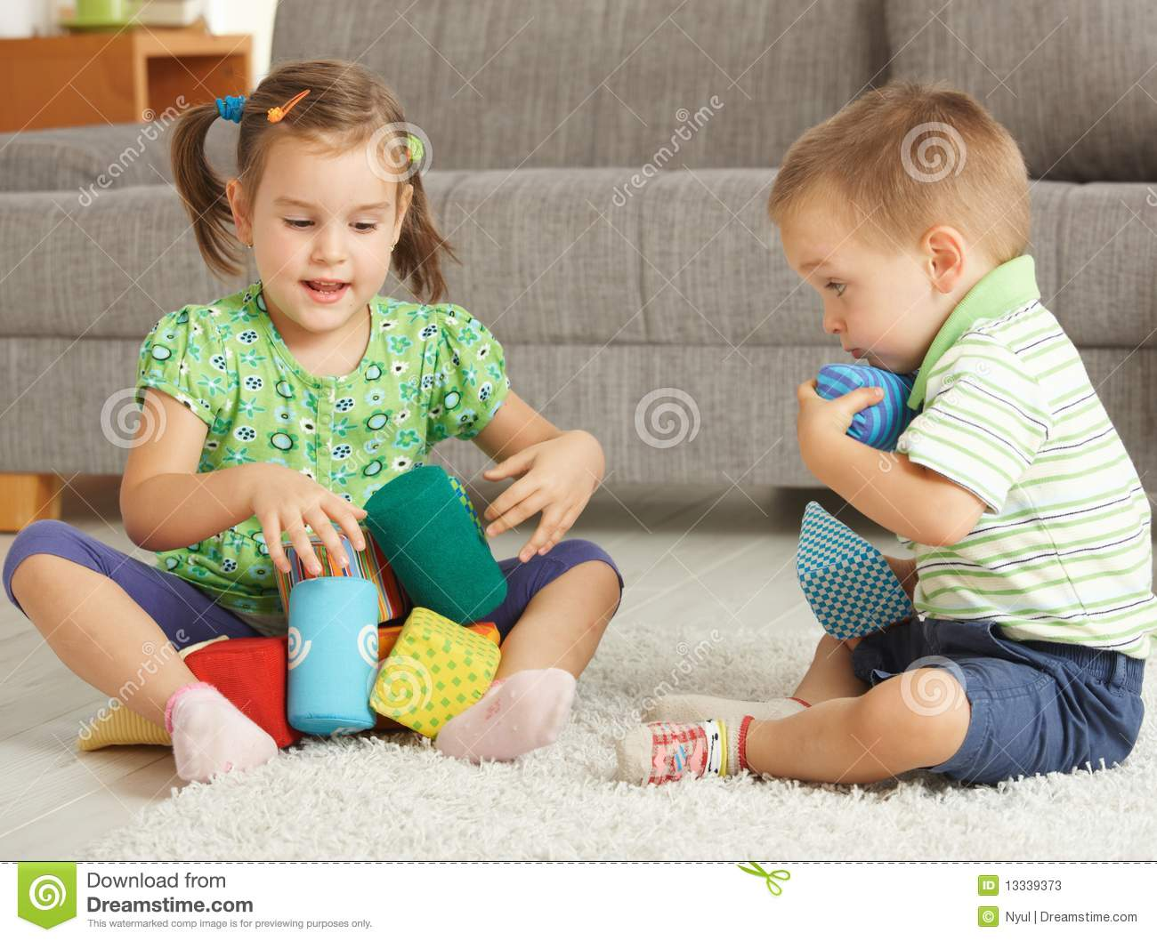 Children Playing Together At Home Stock Image Image Of