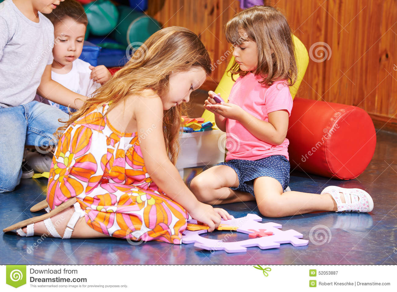 children playing together in preschool stock photo image