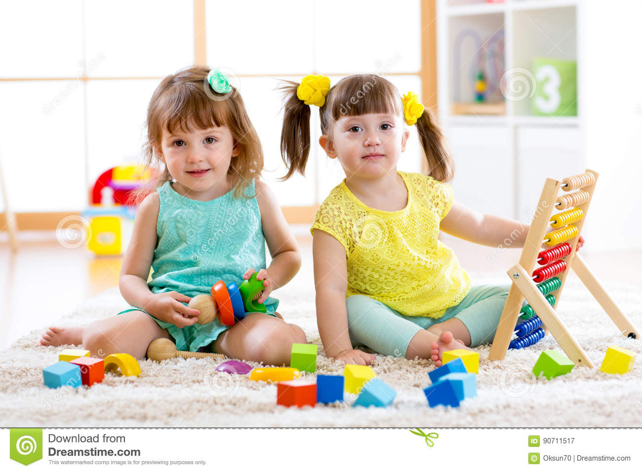 Download Children Playing Together. Toddler Kid And Baby Play With Blocks. Educational Toys For Preschool And Kindergarten Child. Little Gi Stock Image - Image of floor, indoors: 90711517