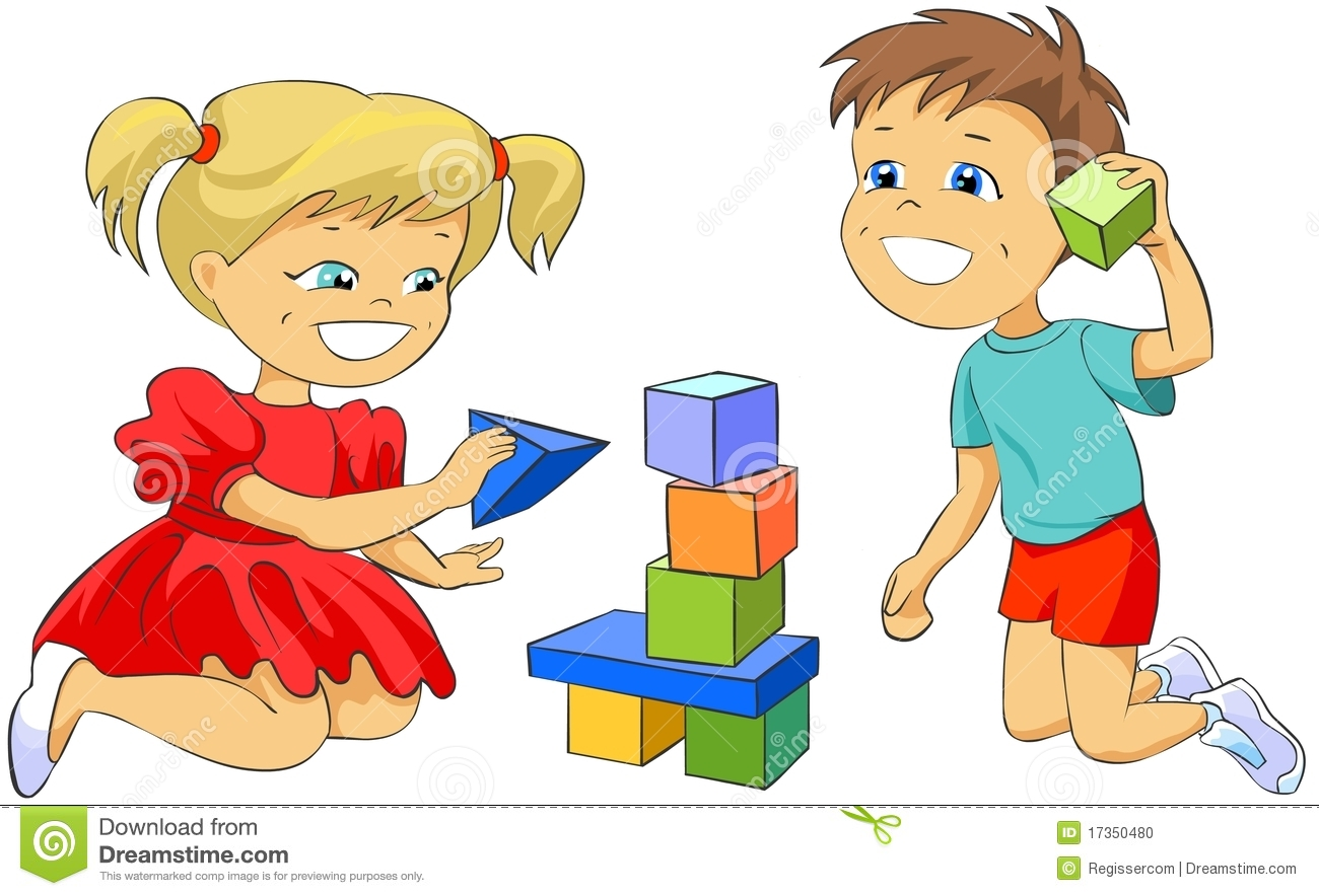 Children Playing With Toy Blocks. Stock Illustration ...