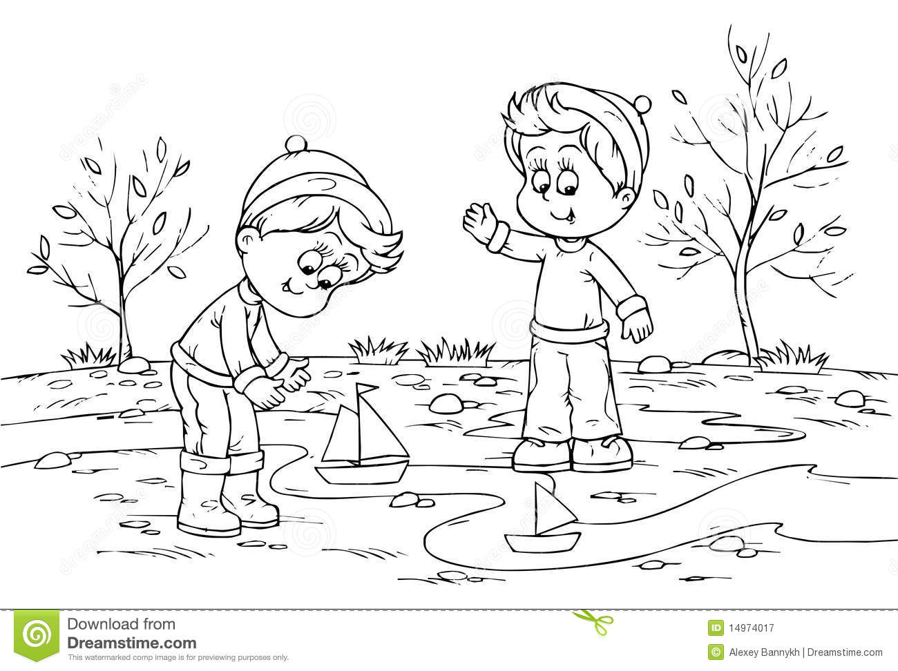 children playing with toy ships stock illustration - illustration of