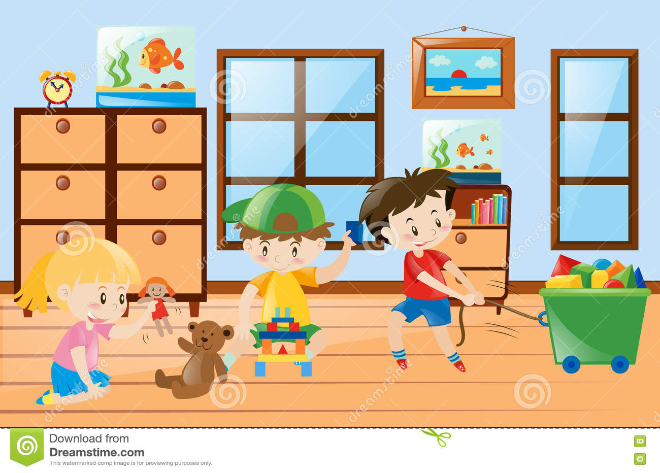 1 Bedroom House Floor Plans Children Playing Toys Inside The Room Stock Vector