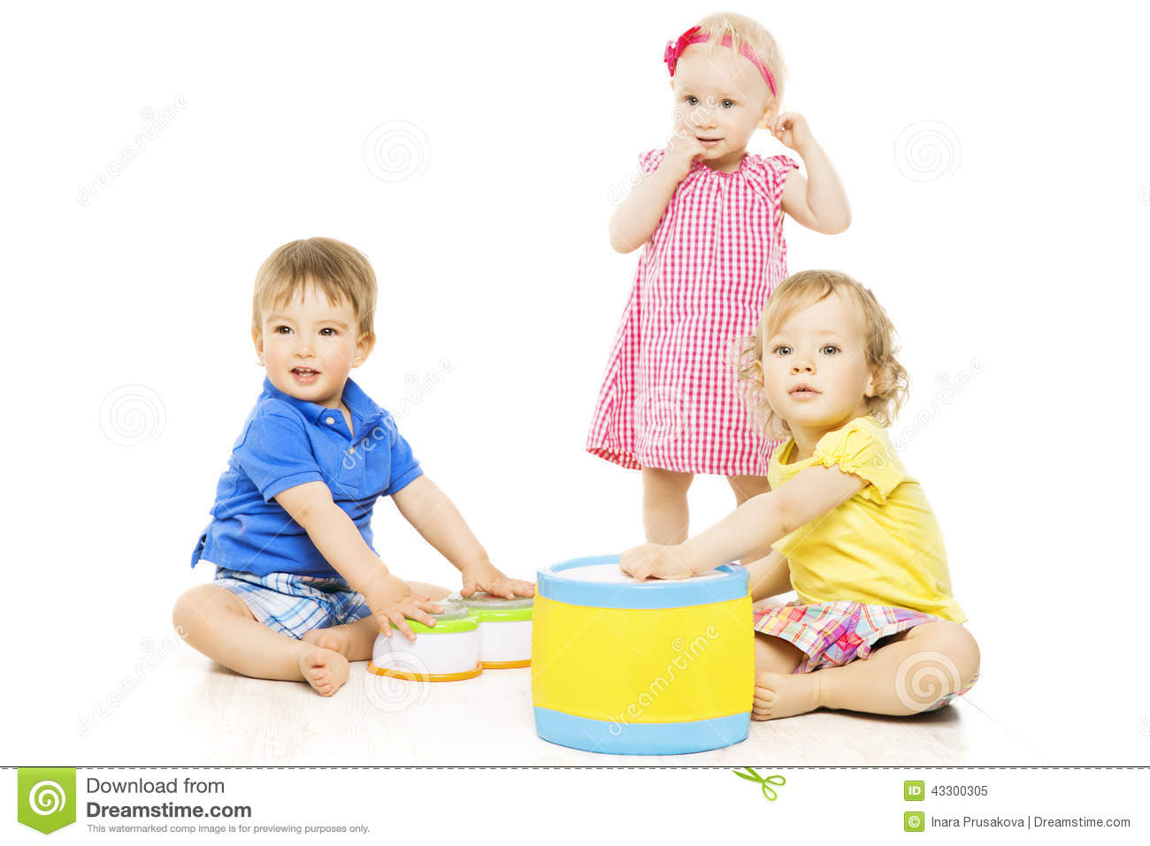 Children Playing Toys Small Kids Isolated White
