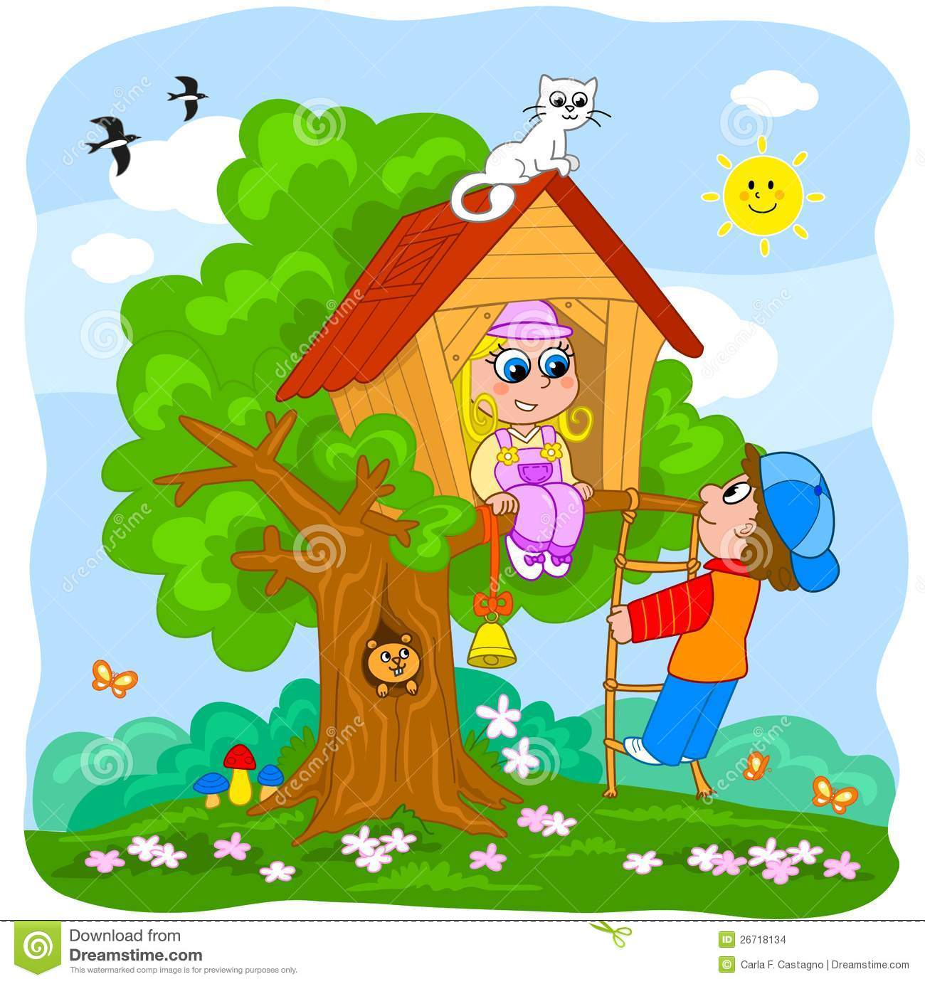 Children playing in a tree house stock vector image for House pics for kids