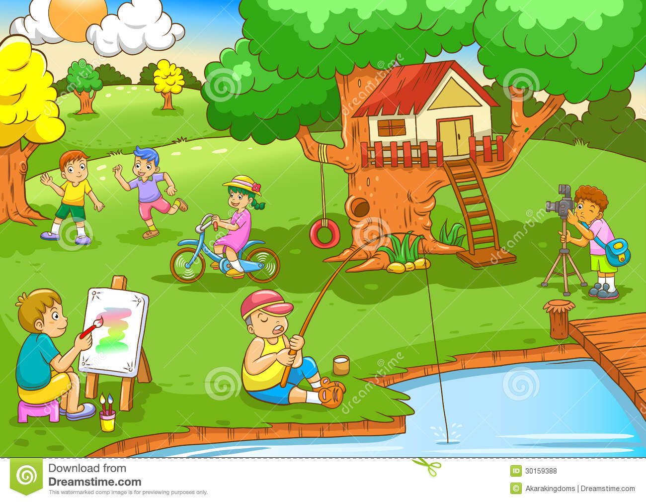 ... Playing Under Tree House Royalty Free Stock Photos - Image: 30159388