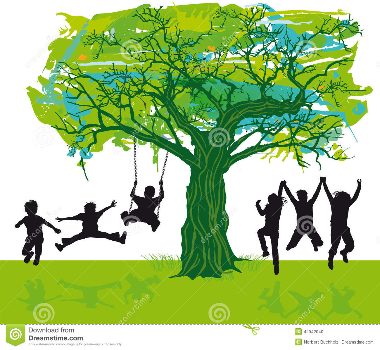 Illustration of a group of silhouetted children playing under a leafy ...