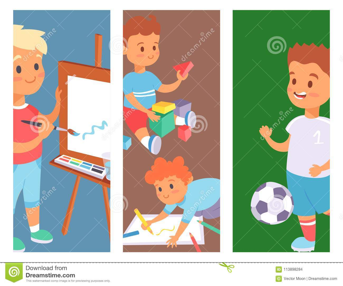 Why Are Kids Different At Home And At >> Children Playing Vector Banner Different Types Of Home Games Little