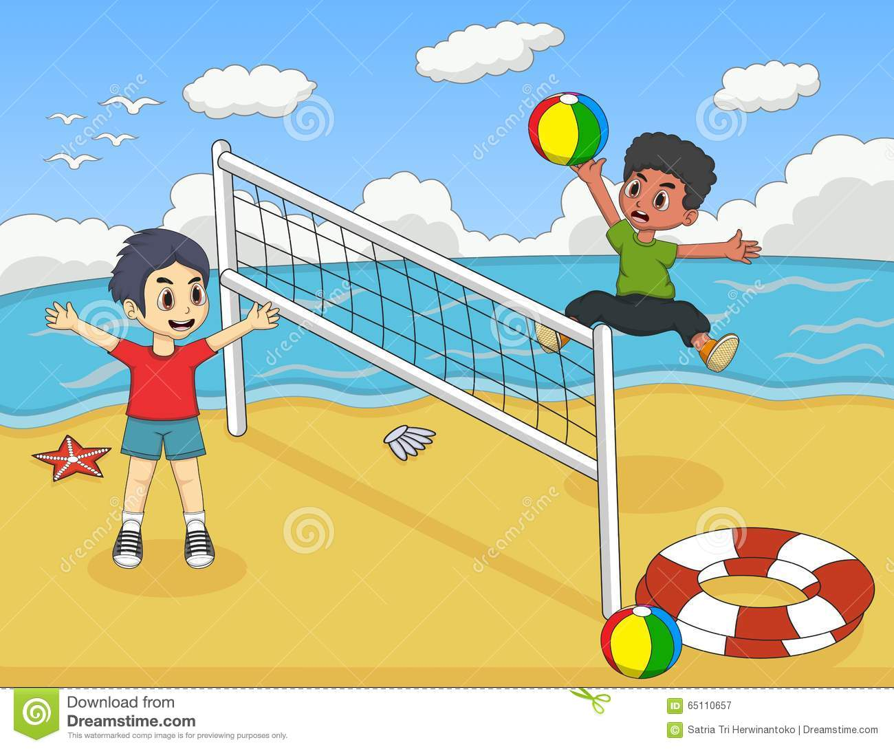 Children Playing Volleyball On The Beach Cartoon Vector ...