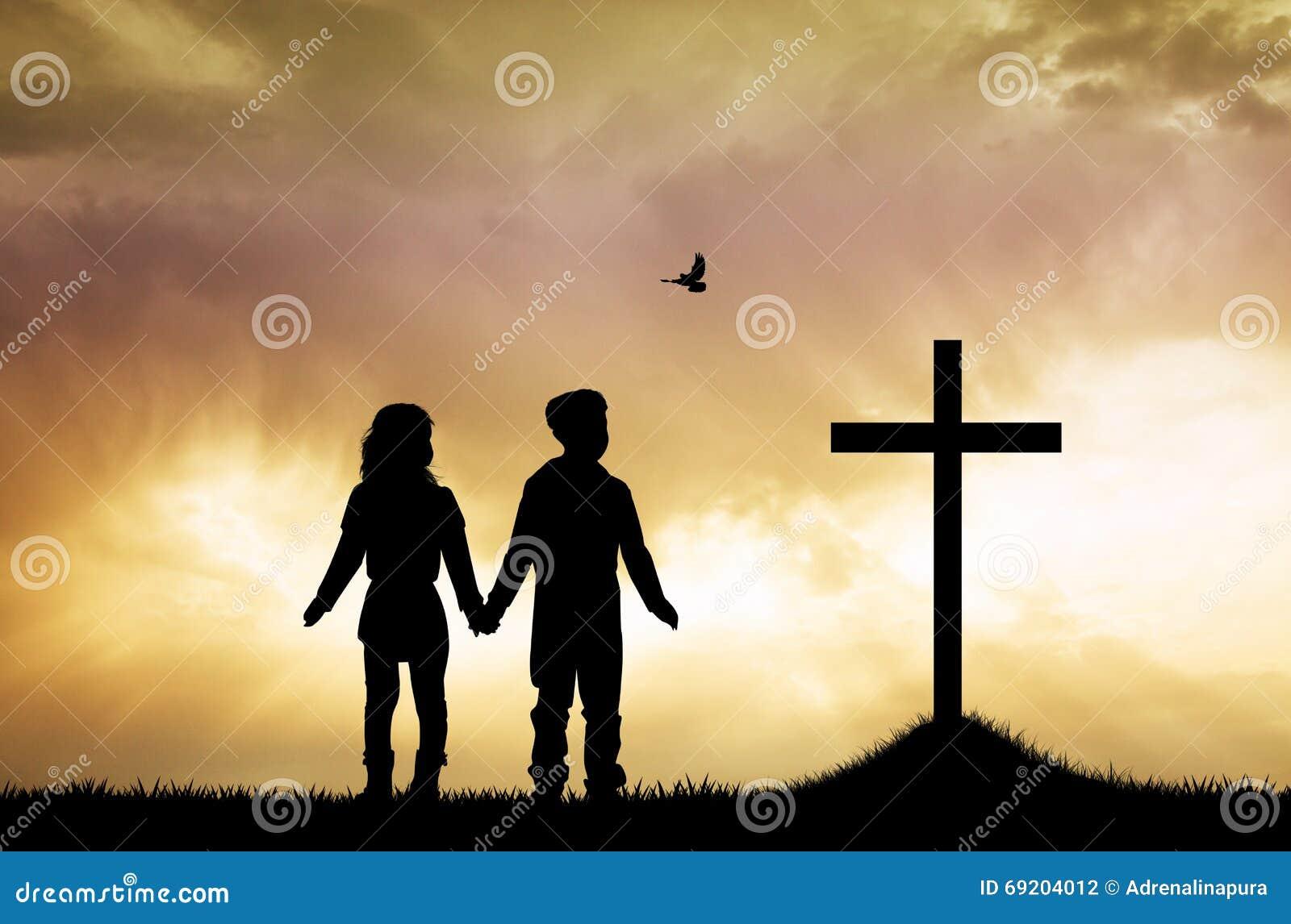 Children pray Jesus stock illustration  Illustration of