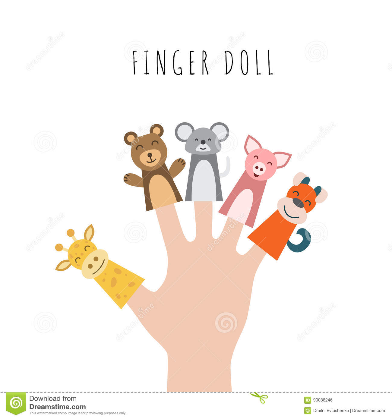 Figures of animals heroes of the puppet theatre which put in the fingers of the hand vector illustration of characters to play with the children in