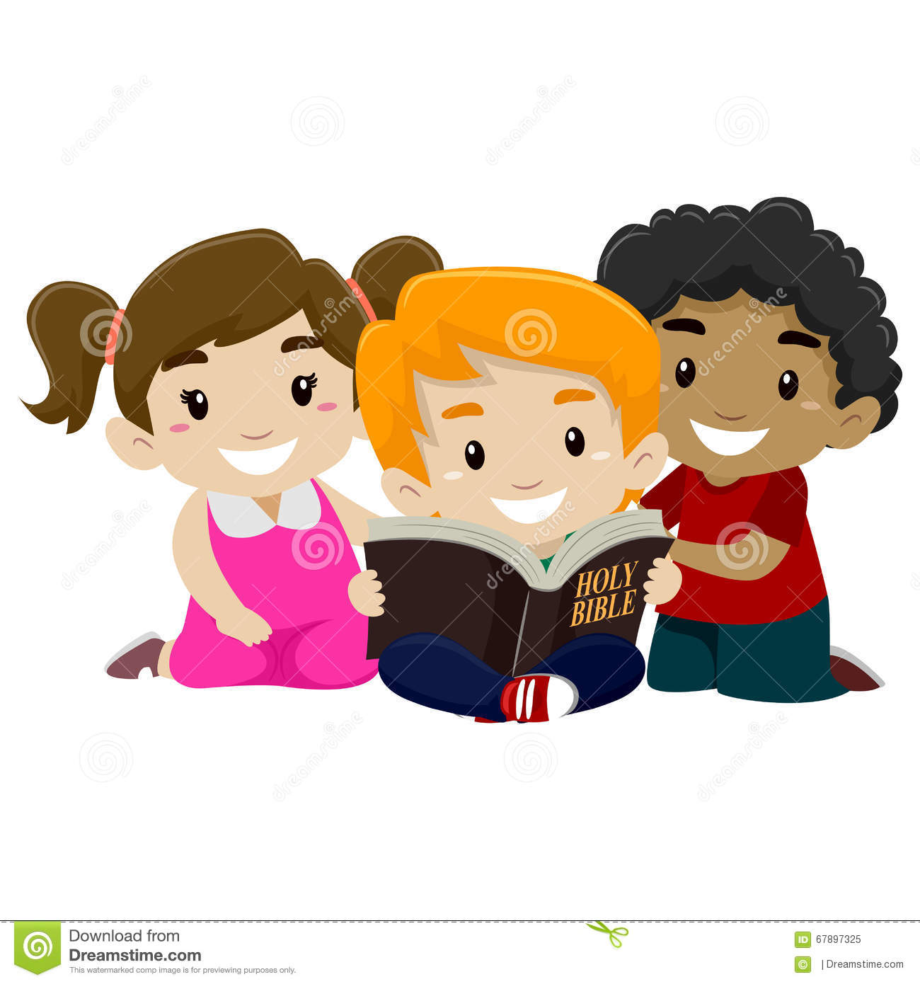 Children reading bible stock vector image 67897325