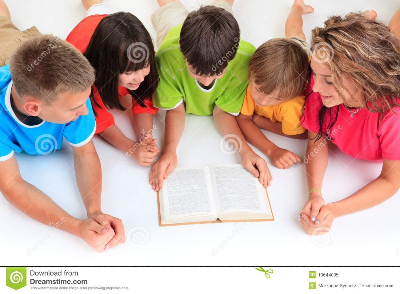 Children Reading Book Stock Image Image Of Clothing 13644005