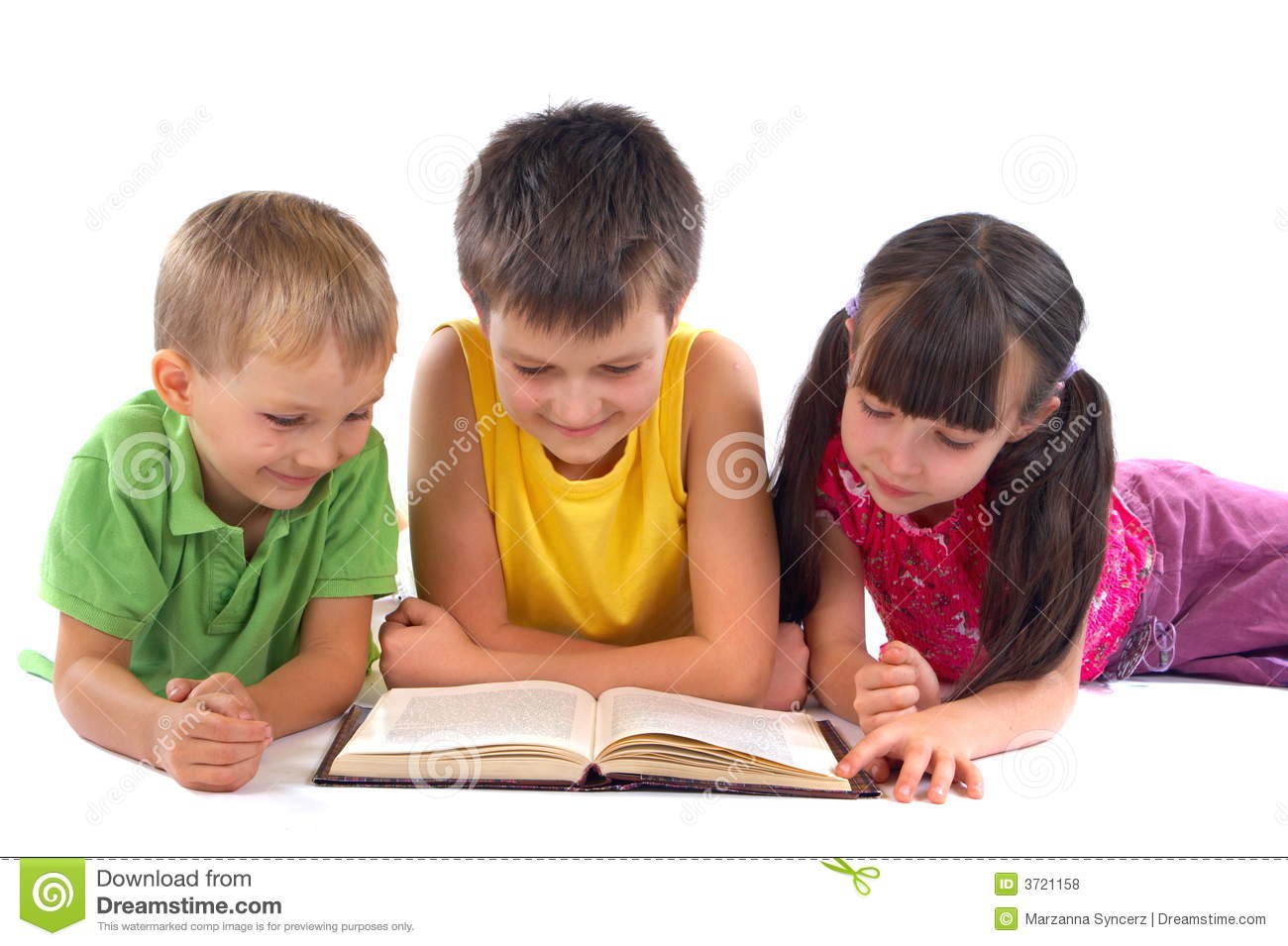 Children Reading Book Stock Photo Image Of Child Family