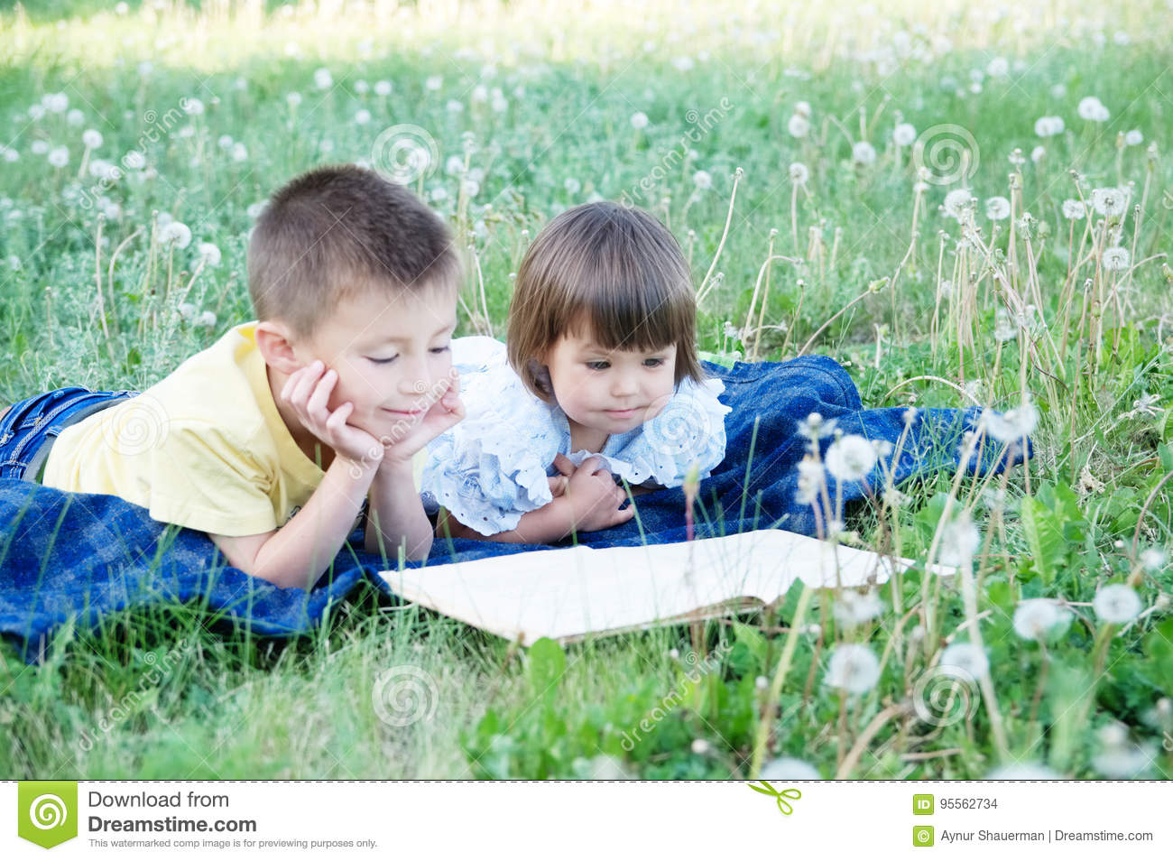 Children reading book in park lying on stomach outdoor among dandelion in park, cute children education and development