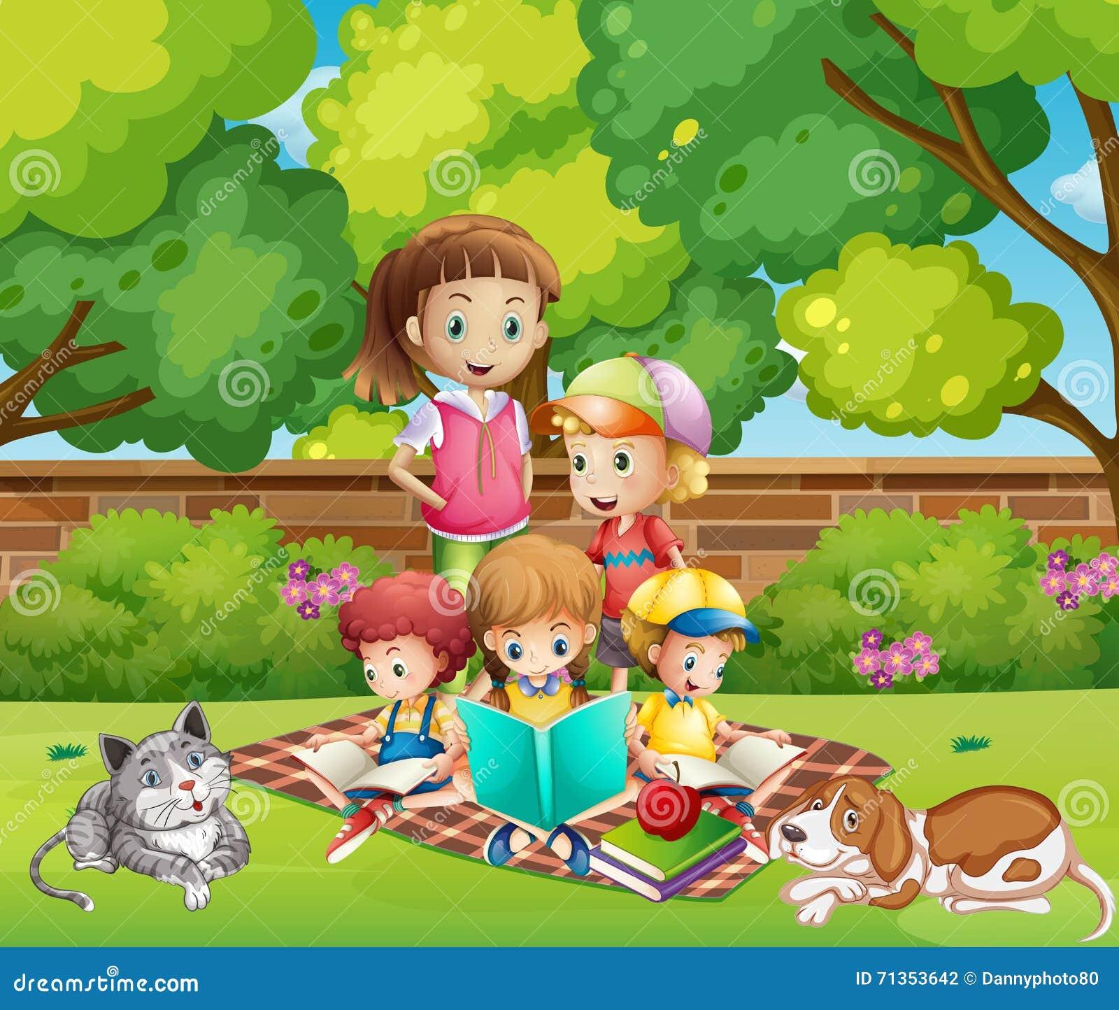 Children Reading Books In The Garden Stock Vector Image 71353642