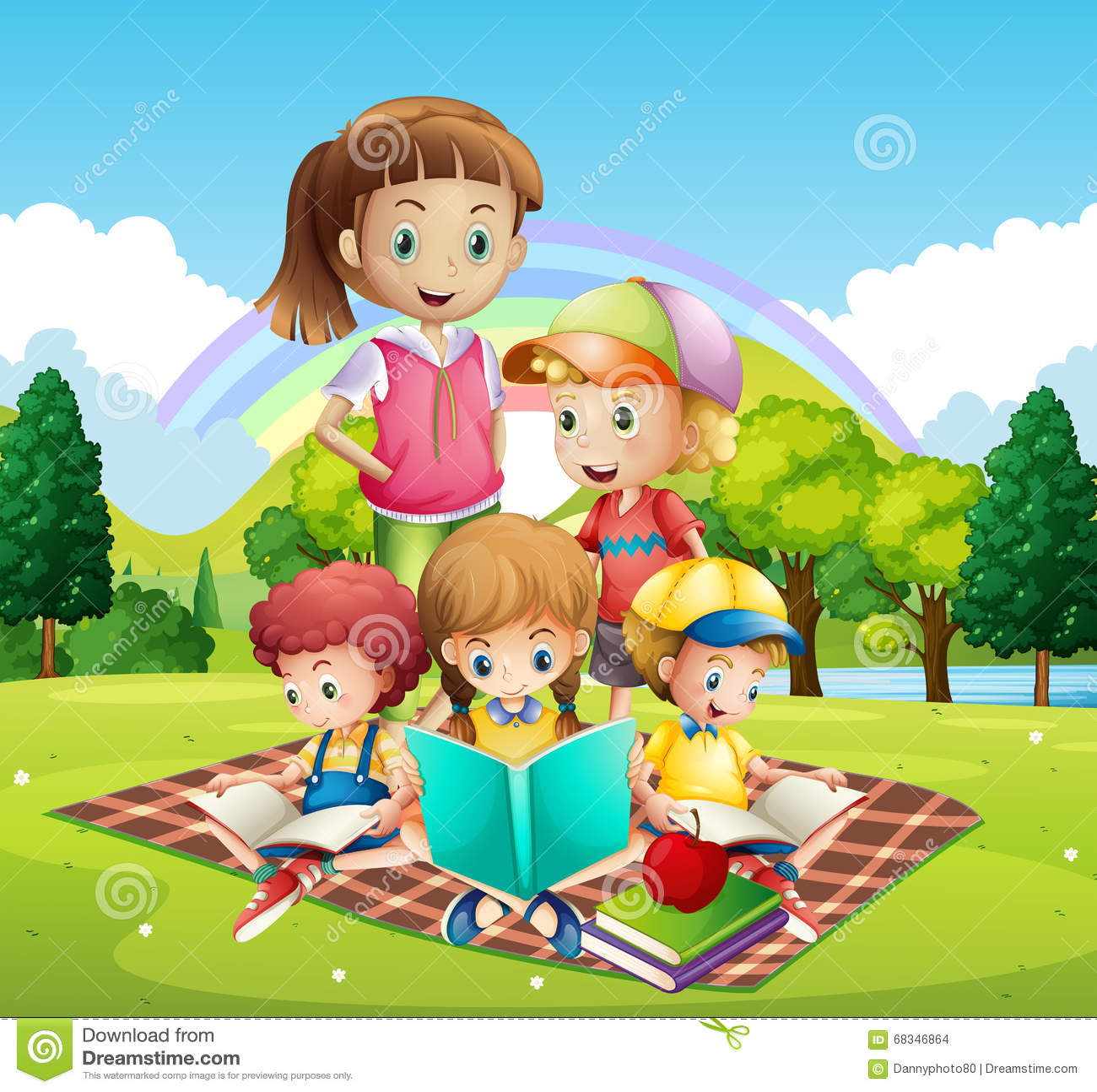 Children Reading Books In The Park Stock Vector - Image: 68346864