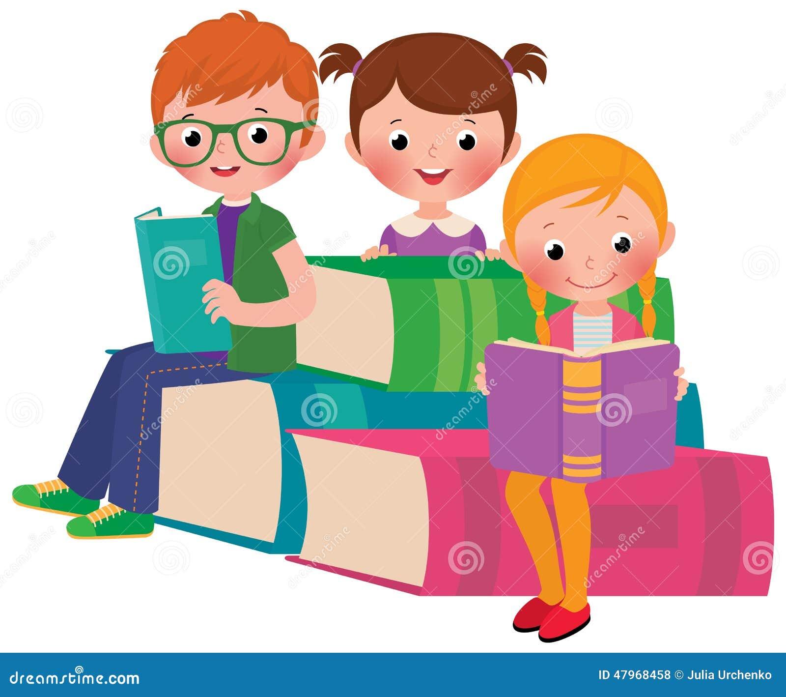 Children Reading Books Stock Vector Image Of Studying