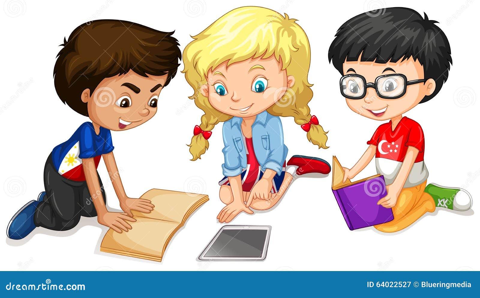 Children Reading Stock Vector Art More Images Of Baby: Children Reading And Doing Work Stock Vector