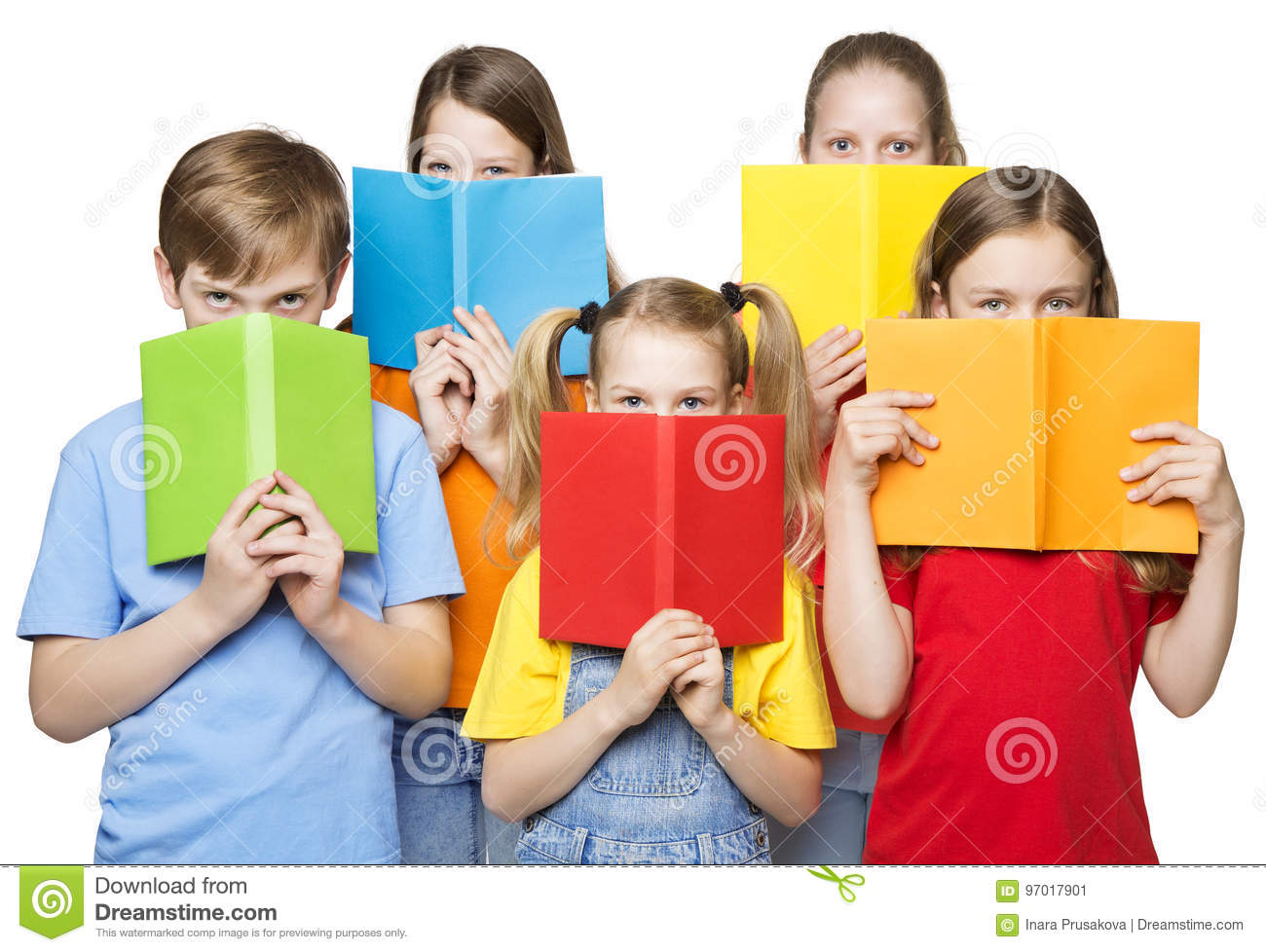 Download Children Reading Open Books, School Kids Group Eyes, Blank Covers Stock Image - Image of five, cheerful: 97017901