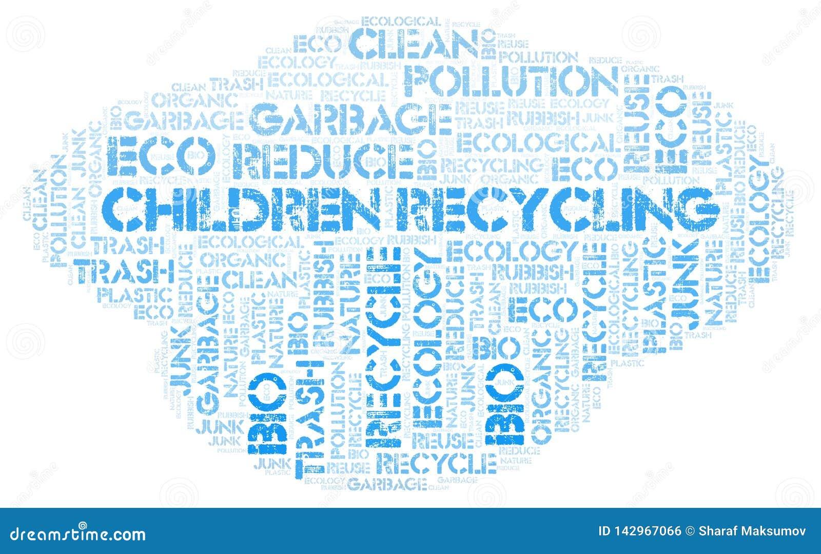 Children Recycling word cloud