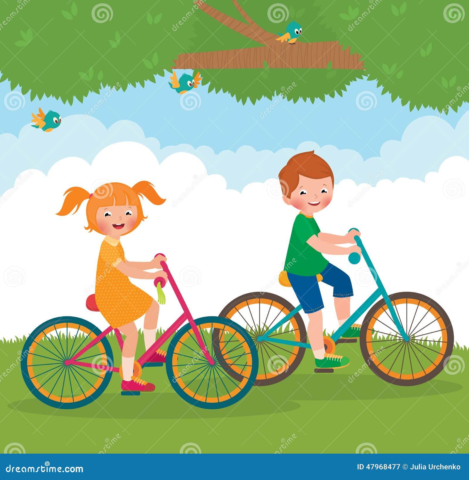 Children ride on the bike stock vector. Illustration of ...
