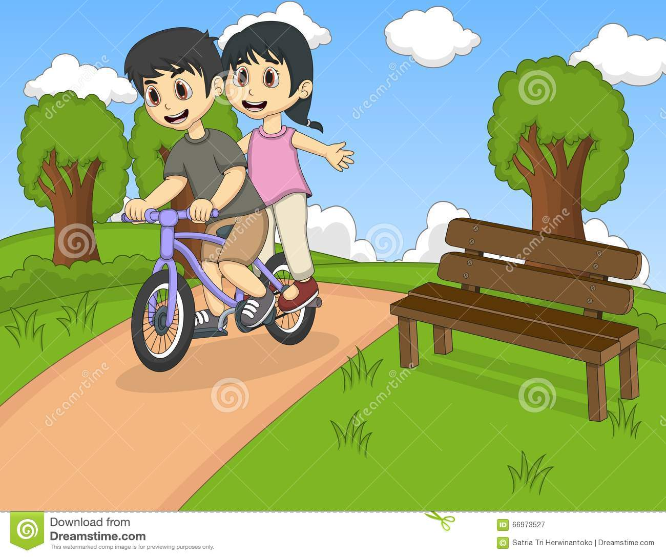 Children Riding Bicycle On The Park Cartoon Stock Vector