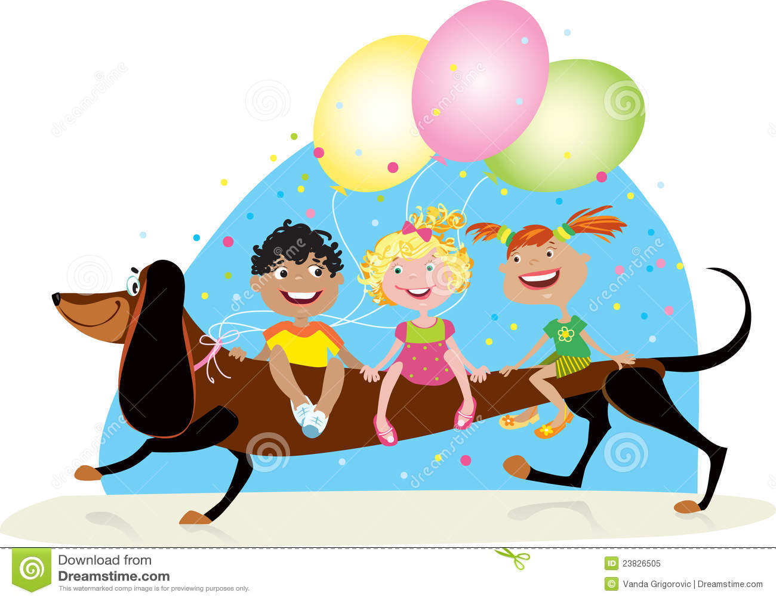 Children riding dog