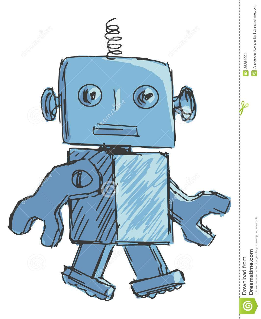 Time Travel Cartoon Kid Robot And