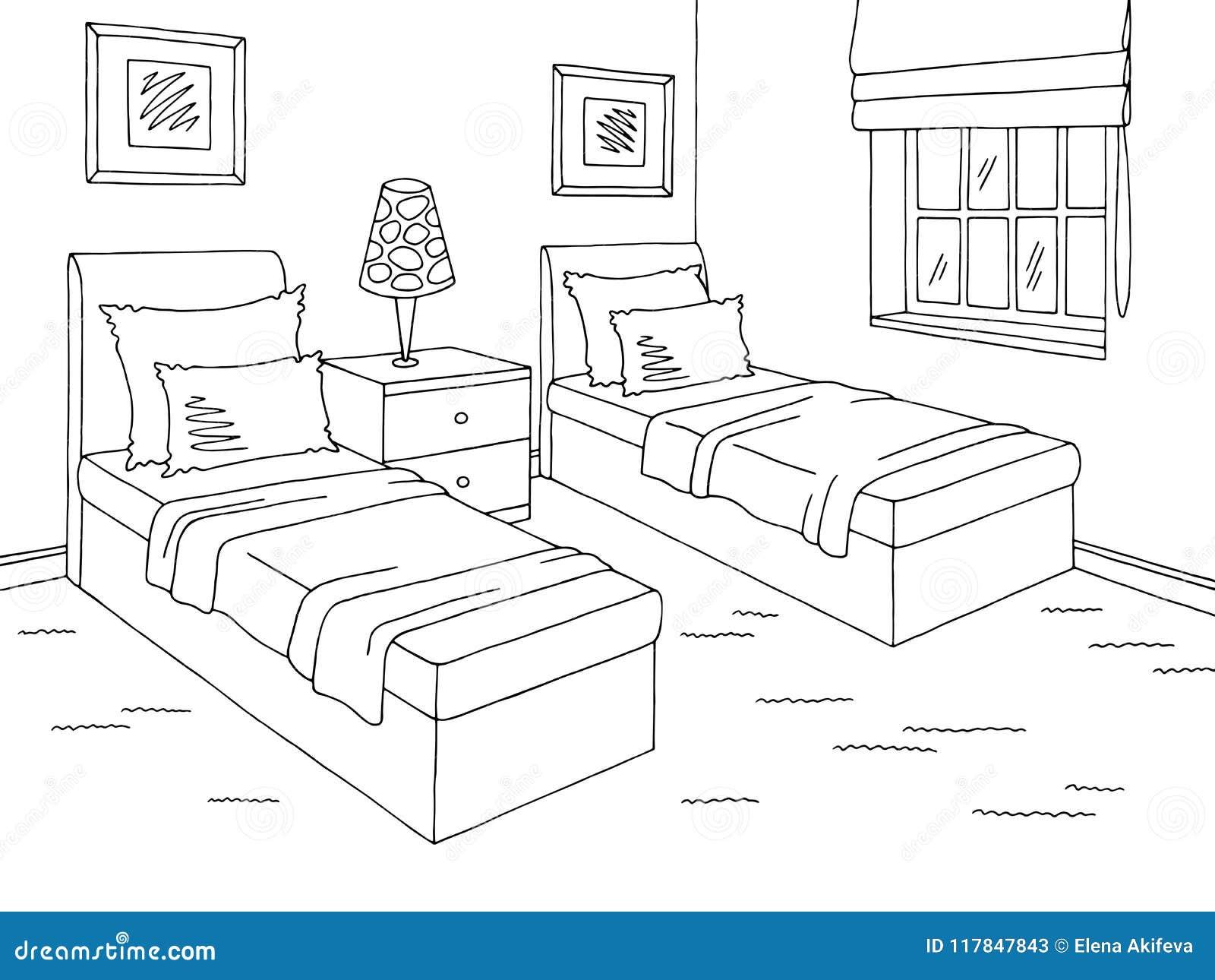 Children Room Graphic Black White Home Interior Sketch Illustration
