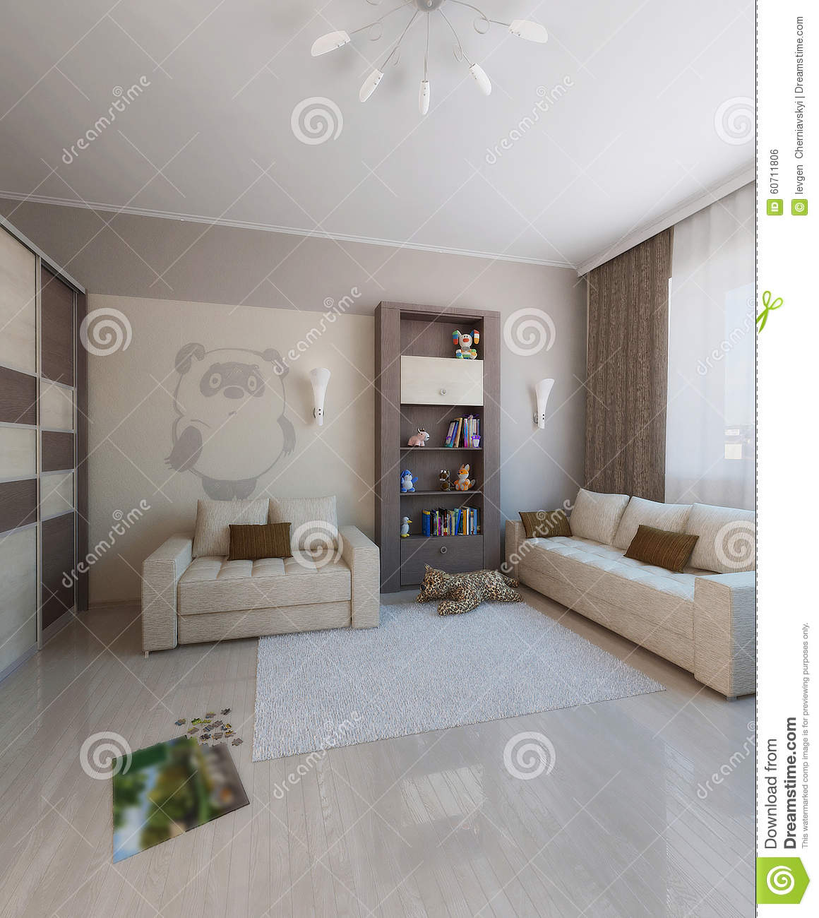 Children Room Interior Design, 3D Render Stock Photo