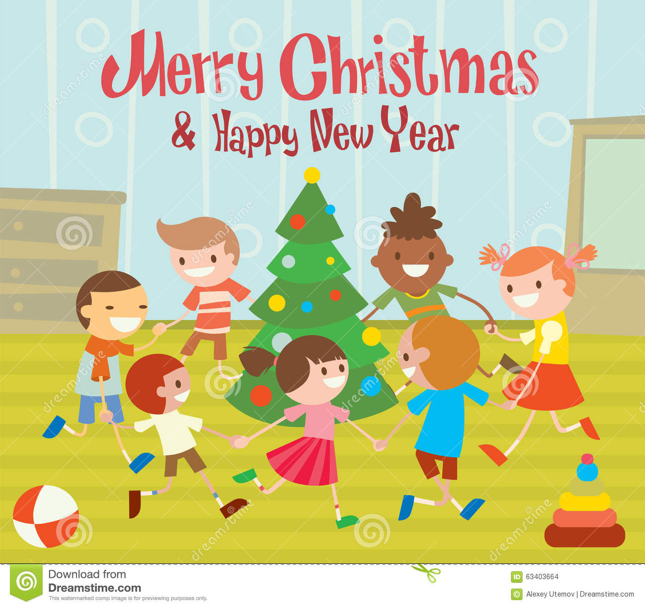 Children Round Dancing Christmas Tree In Baby Club Stock Vector ...