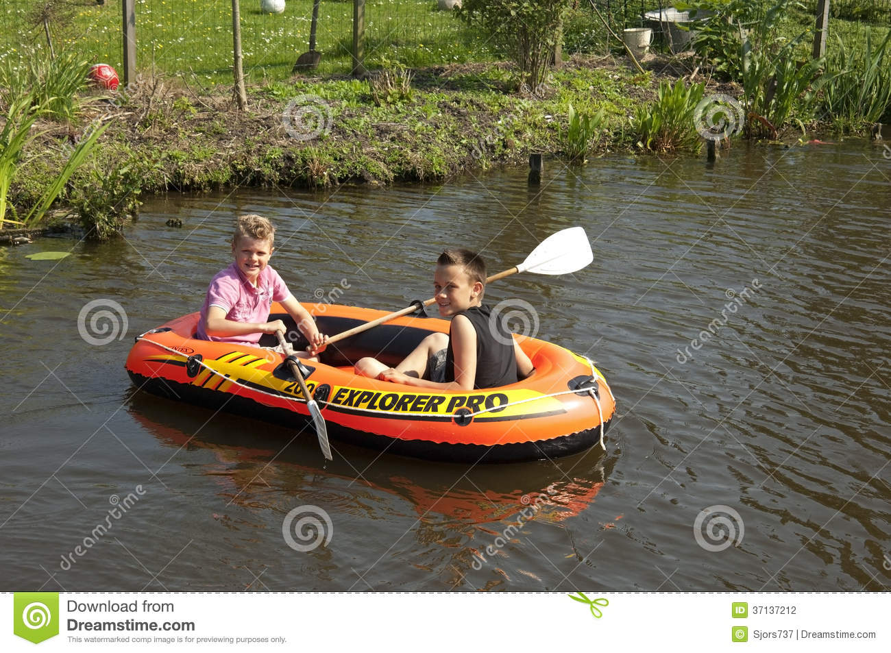 Children Rowing In A Rubber Dinghy, Netherlands Editorial Photography ...