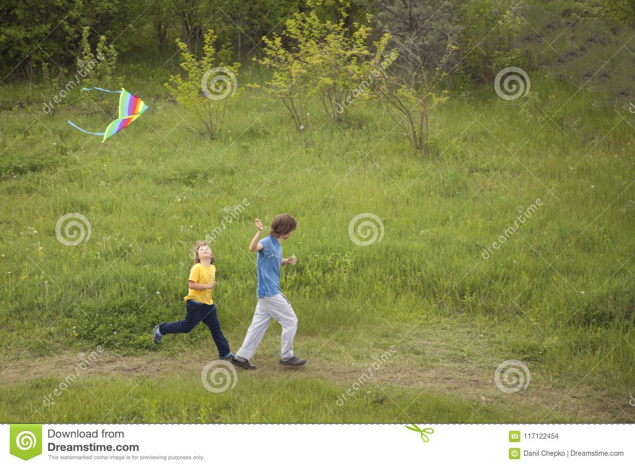 Children run playing kite on summer meadow