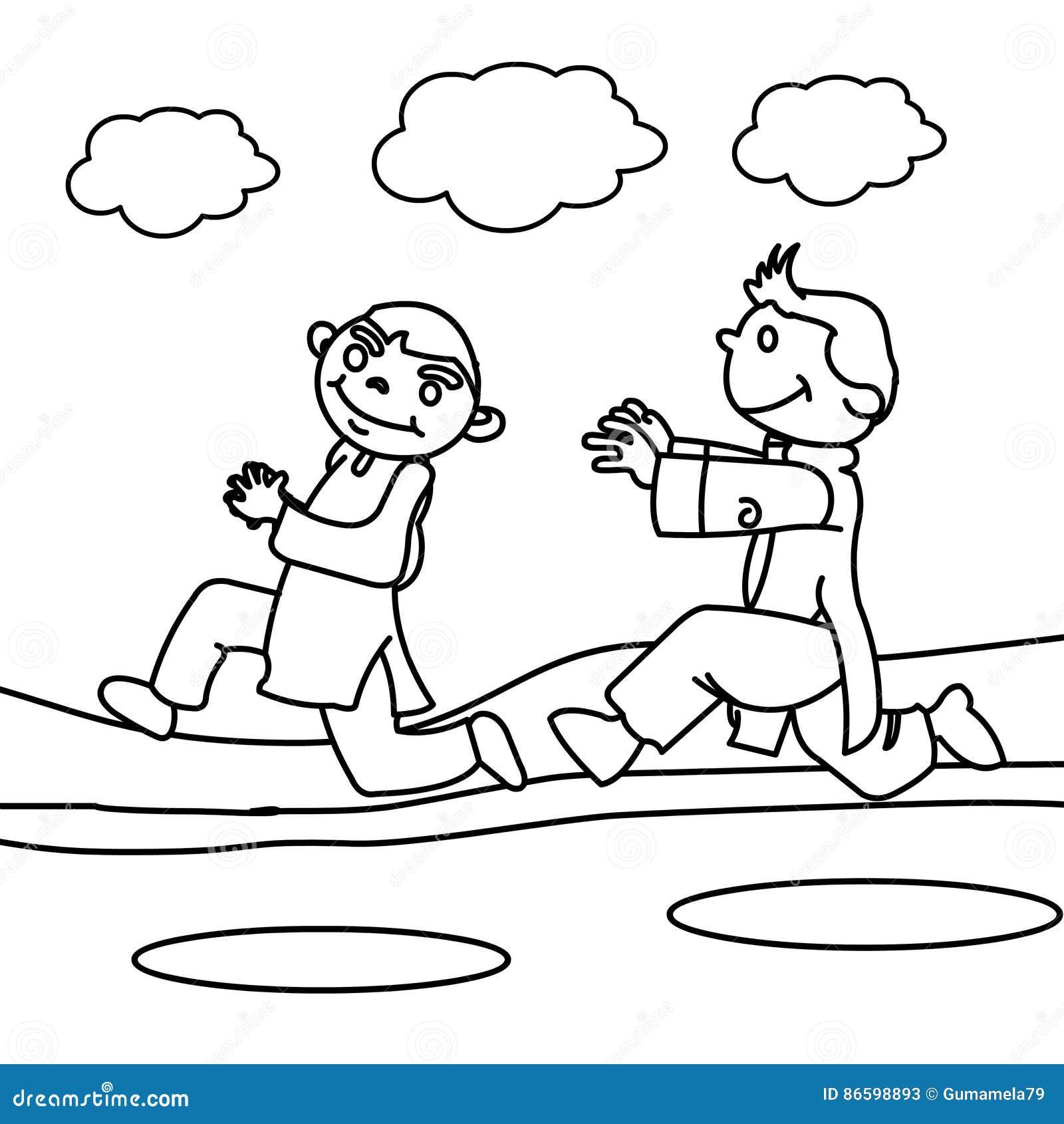Children Running Coloring Page Stock Illustration Illustration Of