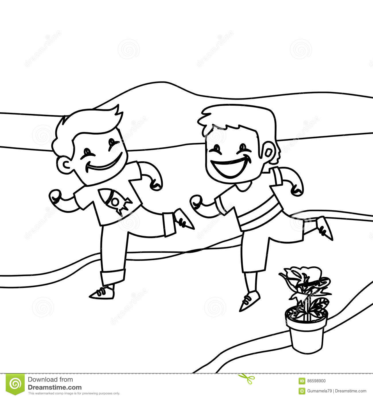 Children Running Coloring Page Stock Illustration - Illustration of ...