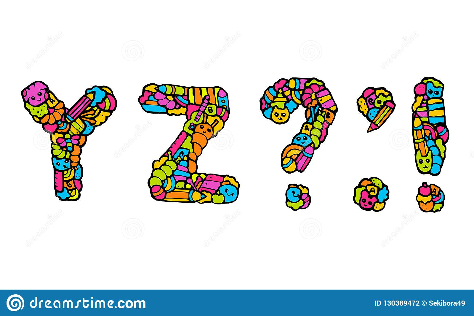 Children`s alphabet doodle stock vector  Illustration of