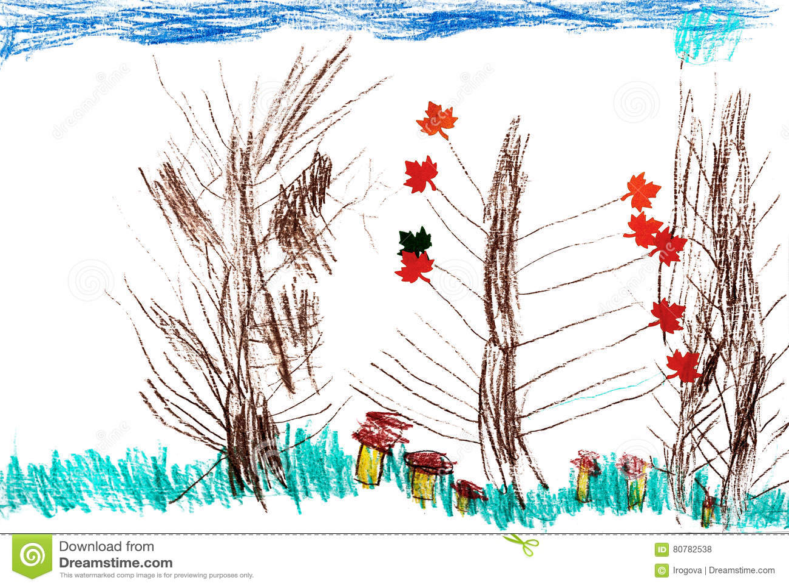 children s autumn trees drawing pencil stock illustration