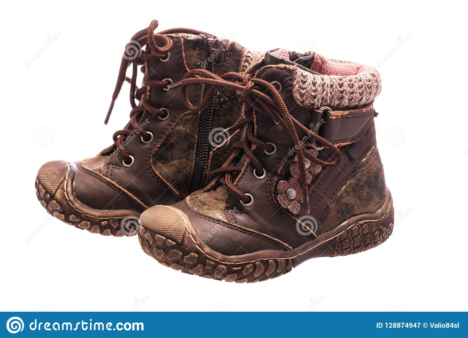 Children Baby Shoes  Orthopedic Leather Shoes Stock Image