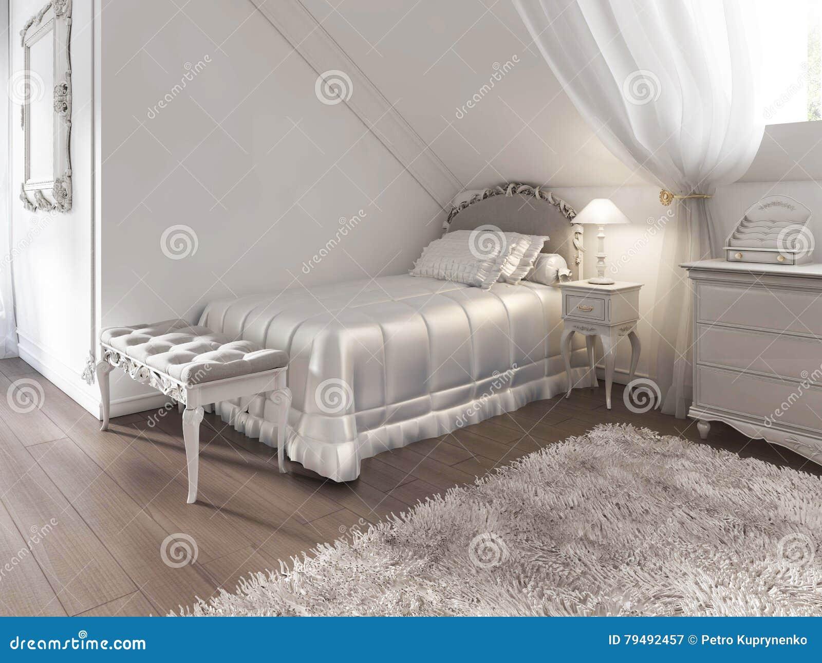 Nowość Children& X27; S Biały łóżko Z Koc I Poduszki W Art Deco IL57