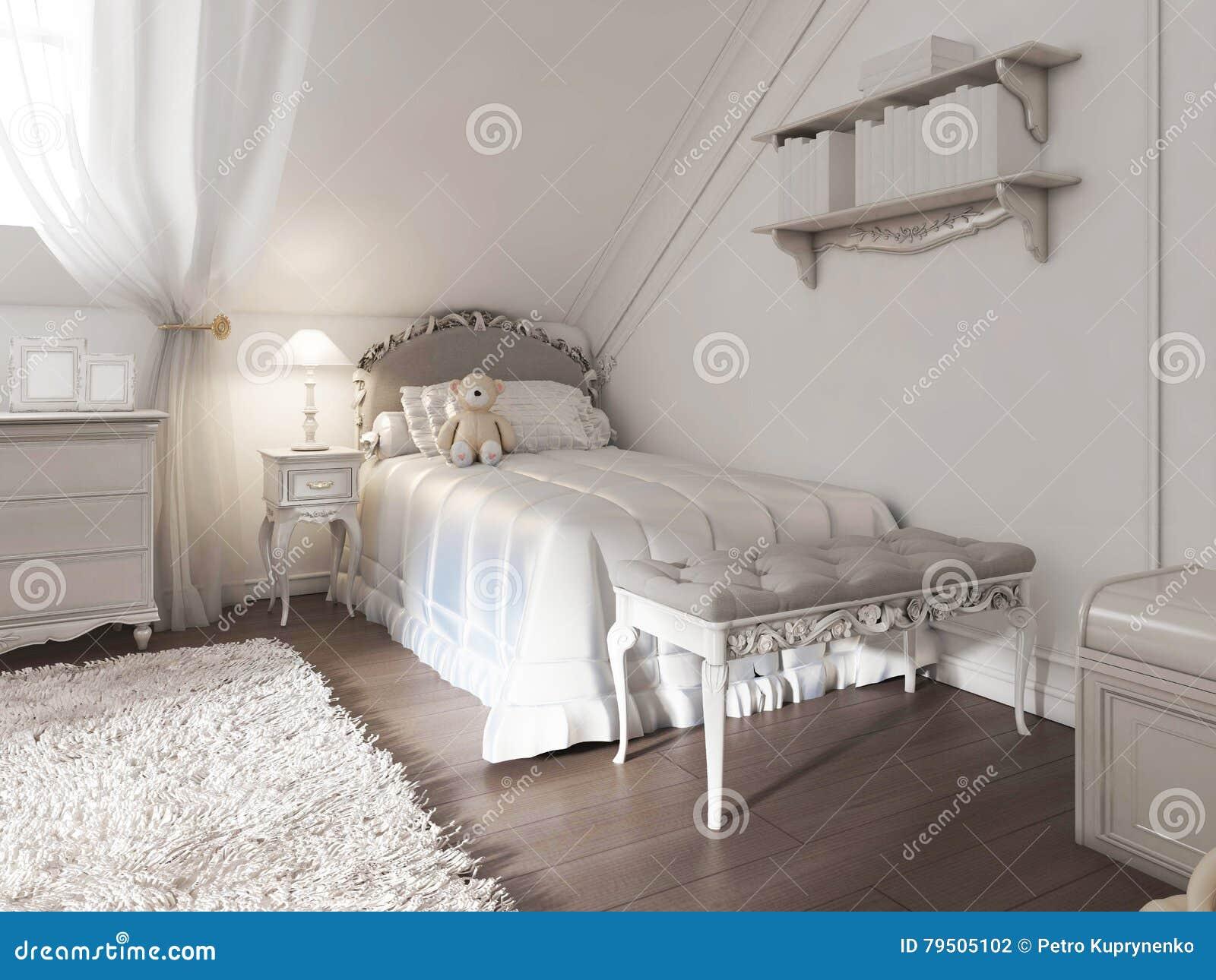 Poważne Children& X27; S Biały łóżko Z Koc I Poduszki W Art Deco GR76